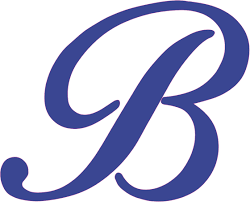3 75in X 3in Blue Cursive B Monogram Sticker Fancy Vinyl Vehicle Stickers Stickertalk