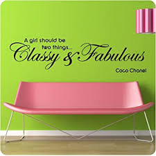 48 Coco Chanel A Girl Should Be Two Things Classy And Fabulous Wall Decal Sticker Fashion Makeup Wall D Cor Stickers Amazon Com