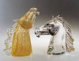 murano glass horses trot gallop and
