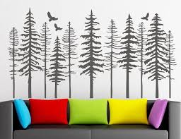 Large Pine Tree Forest Wall Decals Tree Wall Decals Modern Nature Decor Pine Tree Silhouette Wall Sticker Living Decor Lr73 Wall Stickers Aliexpress