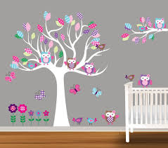 Custom Children Wall Decal Baby Nursery Wall Stickers Owl Decal Butterflies Flowers 129 99 Via Etsy Kids Wall Decals Nursery Wall Stickers Nursery Stickers