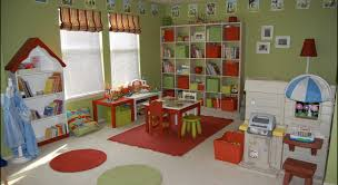 Avocado Green And Apple Red Child S Playroom With Blue Accentsinterior Design Ideas