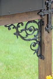Cross Themed Wrought Iron Dress Up Kit For Wood Mailbox Post Ornamental Iron Post Madison Iron And Wood