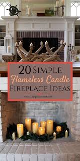 fireplace mantle with flameless candles