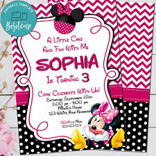Archivo Digital De Invitacion De Cumpleanos De Minnie Mouse Rosa