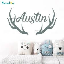 Reindeer Horn Custom Name Antlers Deer Personalised Baby Room Decor Decal For Home Boy Girl Wall Sticker Wallpaper Mural Ba073 Wall Stickers Aliexpress