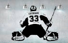 Hockey Goalie Player Wall Art Decal Sticker Personalized Name Number Home Decor Wall Stickers For Kids Room Decal Wall Art Wall Stickers Kids Children Room Boy