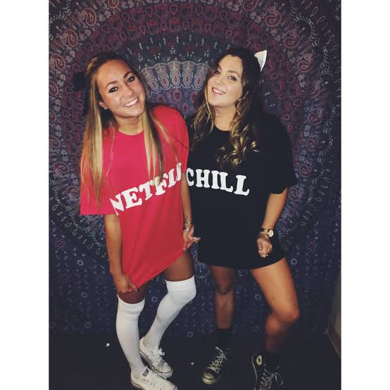 Image result for netflix and chill costume halloween""