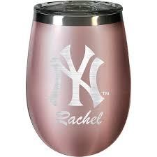 New York Yankees 12oz Personalized Rose Gold Wine Tumbler