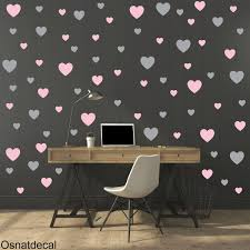 Free Shipping Wall Decal 130 Hearts Two Color Pastel Pink Gray Wall Sticker Nursery Wall Decal Vinyl Wall Decal Wall Art By Osnatdecal On Etsy Dormitorios