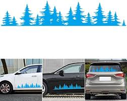 Amazon Com Qingkong Car Sticker Body Side Vinyl Decal Sticker Pine Tree Forest Mountains Coast Decals Graphics Self Adhesive Auto Decoration 100x20cm Blue Arts Crafts Sewing