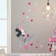 Disney Baby Minnie Mouse Pink Gray Celestial Wall Decals