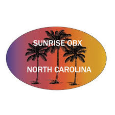 Sunrise Obx North Carolina Souvenir Palm Trees Surfing Trendy Oval Decal Sticker Walmart Com Walmart Com