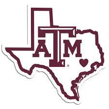 Texas A M Aggies Home State Vinyl Auto Decal Ncaa Texas Shape Fanaticsworldwide
