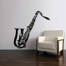 Amazon Com Stickersforlife Wall Vinyl Sticker Decals Decor Art Bedroom Design Mural Music Instrument Notes Sax Saxophone Tube Jazz Notes Audio Z2601 Home Kitchen