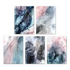 Colorful Ink Splash Abstract Wall Art Pink Gray Blue Subtle Hues Fine Nordicwallart Com