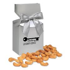 honey roasted cashews in silver gift