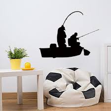 Creative Fishing Bass Trout Boat Fish Fisherman Graphic Wall Sticker Bedroom Living Room Art Deco Vinyl Decal Diy Large Stickers For Walls Large Vinyl Wall Decals From Langru1002 8 05 Dhgate Com
