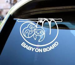 Baby On Board Decals Mammy And Baby Sloth Etsy