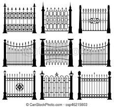 Black And White Iron Gates And Fences Architecture Elements Vector Set Frame Barrier With Steel Rod Illustration
