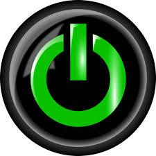 Negro y verde del botón de alimentación | Vectores de dominio público