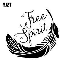 Yjzt 18 16 8cm Cartoon Feather Free Spirit Fashion Car Sticker Black Silver Vinyl Car Styling Decals S8 1500 Car Sticker Stickers Blacksilver Vinyl Aliexpress