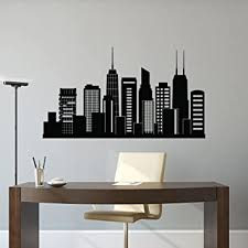 Chicago Skyline Wall Decal City Silhouette Chicago Illinois Skyline Decal Office Business College Dorm Living Room Wall Art Home Decor C127 Amazon Com