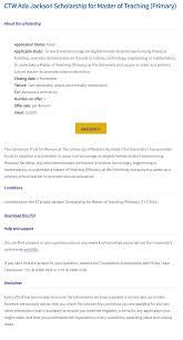 CTW Ada Jackson International Masters Scholarship at University of ...