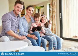 Happy Family With Two Kids And Cat Stock Image Image Of Girl Lifestyle 194719281