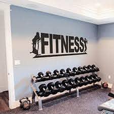 Amazon Com Fitness Wall Vinyl Decal Fitness Wall Vinyl Sticker Sports Decals Fitness Club Gym Design Decor Sports Room Decor Xlarge Black Home Kitchen