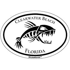 Amazon Com Wickedgoodz Oval Vinyl Clearwater Beach Bone Fish Decal Florida Bumper Sticker Beach Vacation Souvenir Gift Automotive