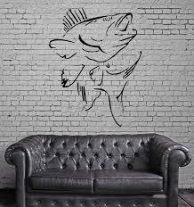 Wall Vinyl Art Sticker Fish Hunt Sea Bass Ocean Marine Decor Unique Wallstickers4you
