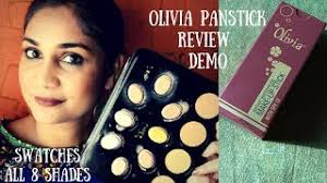 olivia panstick all 8 shades swatches