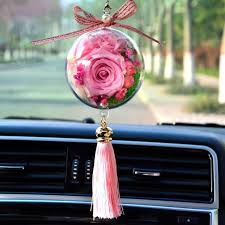 rose flower in ball decoration in car
