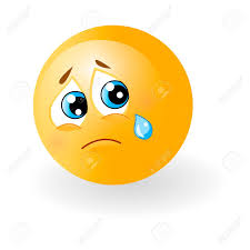 yellow cute sad emoticon with tear