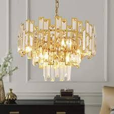 Antilisha Gold Crystal Chandelier Lighting For Dining Rooms Kids Bedroom Foyer Entryway Ceiling Hanging Pendant Chandelier Light Fixture Small Geometric Raindrop Lamp 17 7 6 Lights Amazon Com
