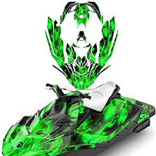 Amazon Com Wholesale Decals Jet Ski Graphics Kit Sticker Decal Compatible With Sea Doo Spark 2 Up 2014 2018 Flames Green Automotive