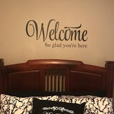 Welcome So Glad You Re Here Vinyl Wall Decal Entry Wall Art Living Room