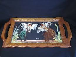 rooster en bird feathers folk art