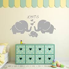 Amazon Com Large Cute Elephant Family With Hearts Wall Decals Baby Nursery Decor Kids Room Wall Stickers Large 40 W X19 H Grey Baby