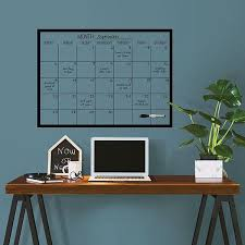 Wpe2801 Black On Clear Monthly Dry Erase Calendar Decal By Wallpops