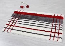 elegant gray red stripe bathroom rug