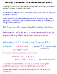 how to solve quadratic equations using