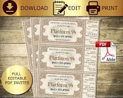Editable Harry Potter Potter Ticket Hogwarts Ticket Hogwarts