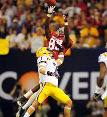 Kevin Norwood makes a leaping catch over the famed Honey Badger. | Bama  girl, Bama football, Alabama football