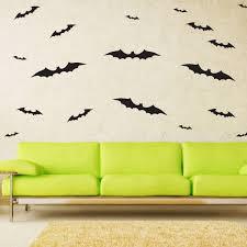Spooky Black Bat Halloween Wall Art Vinyl Decal Bats Sticker 48 Pack Imprinted Designs