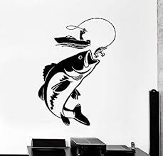 Amazon Com Vinyl Wall Decal Fishing Fisherman Hobby Fish Boat Stickers Vs4209 Office Products