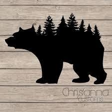 Bear Tree Line Silhouette Decal Sticker Etsy Bear Stencil Bear Decal Bear Silhouette