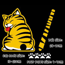 ملصقات خلفية متحركة مصممة على شكل قطة كرتونية ملصقات نافذة عاكسة
