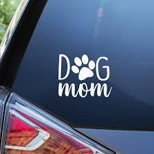 Amazon Com Bks Dog Mom Stickers Vinyl Decal 4 White Styling Decoration For Car Accessories Laptop Wall Tool Box Removeable Motorcycle Bumper Arts Crafts Sewing